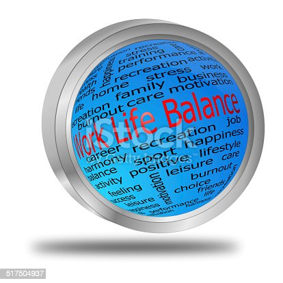 decorative blue work life balance button