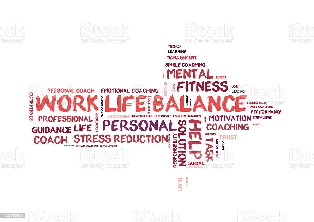 Work life Balance word cloud vector art illustration