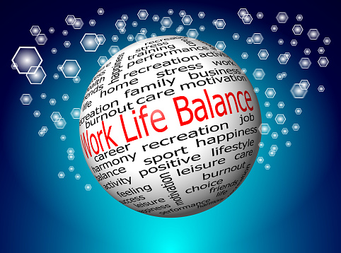 work life balance wordcloud on decorative blue background
