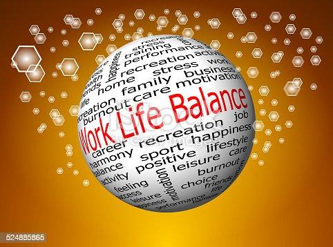 work life balance wordcloud on decorative golden background