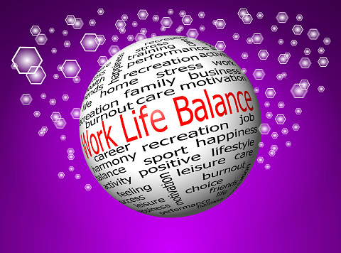 work life balance wordcloud on decorative glossy background