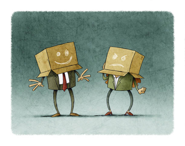 work team with boxes on the head with different expressions vector art illustration