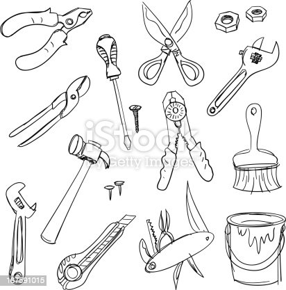 Work Tools In Black And White Stock Vector Art & More