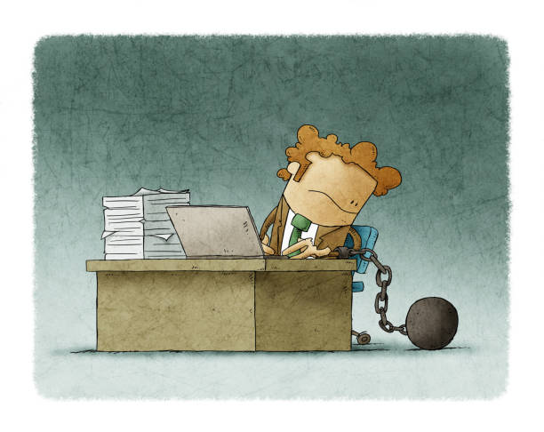 worker is chained to his desk with a prisoner ball vector art illustration
