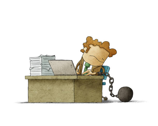 worker is chained to his desk with a prisoner ball. isolated vector art illustration