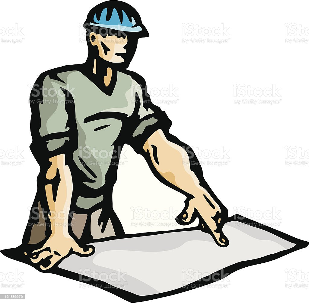 Worker Pointing at a Blueprint (Vector) royalty-free worker pointing at a blueprint stock vector art & more images of adult