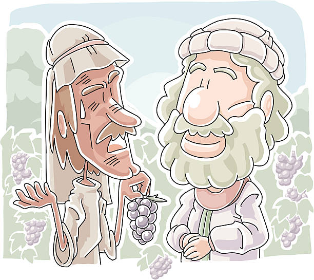 Workers at a vineyard vector art illustration