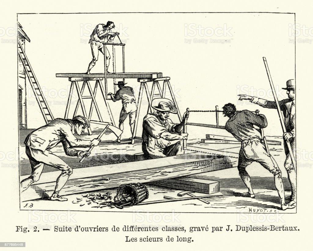 Arbeitnehmer Die Sägen Von Holz Französisch Ende Des 18 Jahrhunderts ...