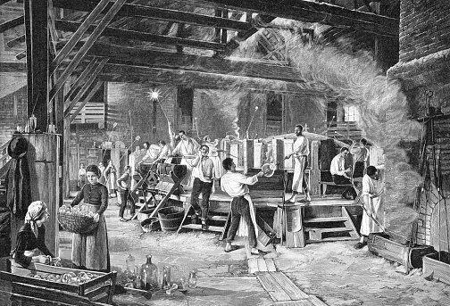 Workers working in glass factory in Schliersee Germany Original edition from my own archives Source : Gartenlaube 1892 After U. Eckardt