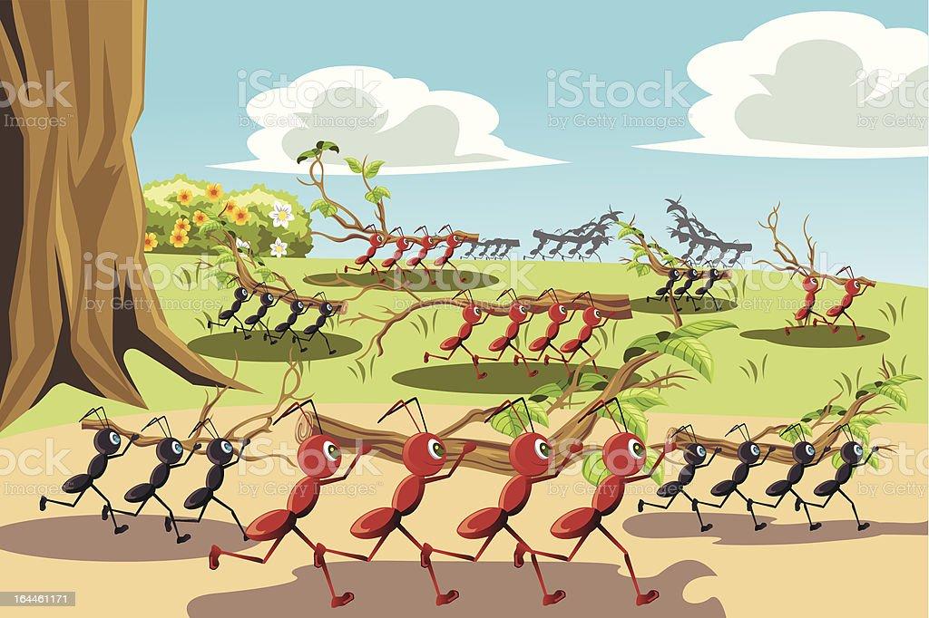 Working ants vector art illustration