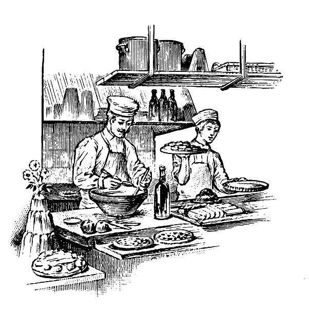 レストランで働く/アンティークデザインのイラスト - フランス料理点のイラスト素材/クリップアート素材/マンガ素材/アイコン素材