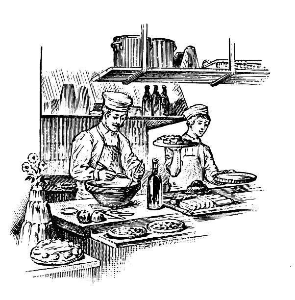 Working at restaurant | Antique Design Illustrations vector art illustration