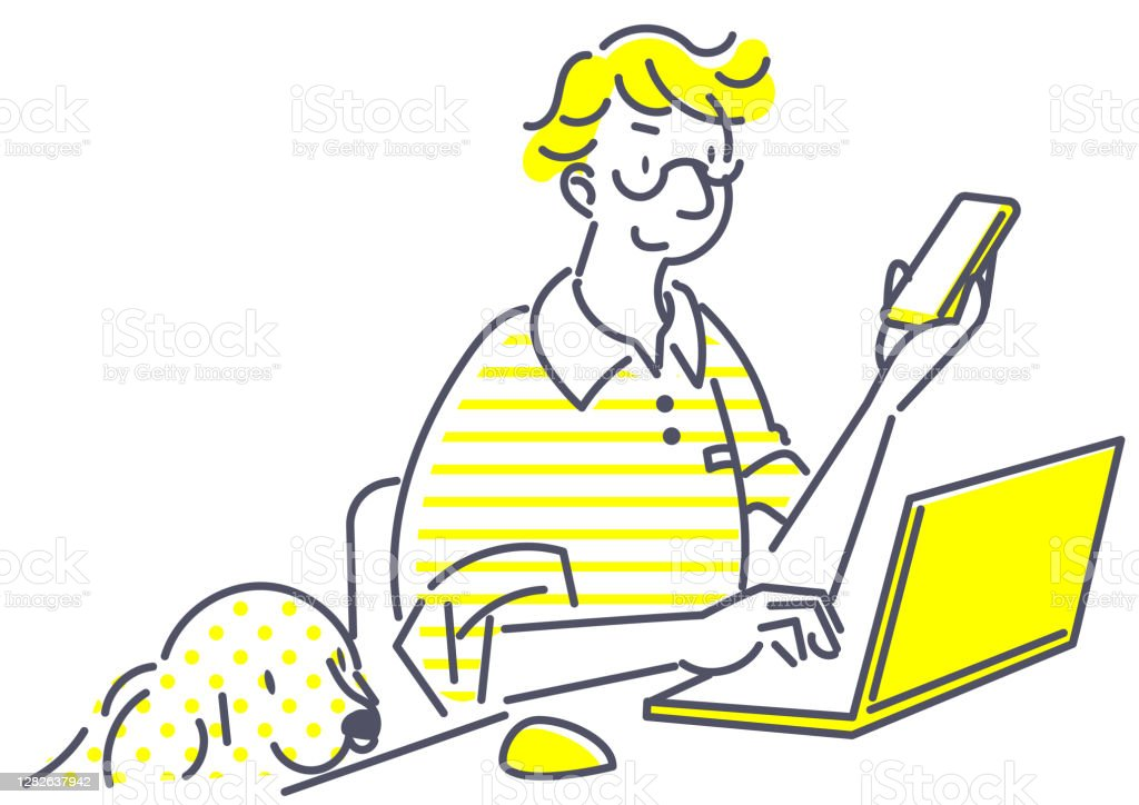 lavorare da casa, semplice illustrazione - Illustrazione stock royalty-free di Adulto