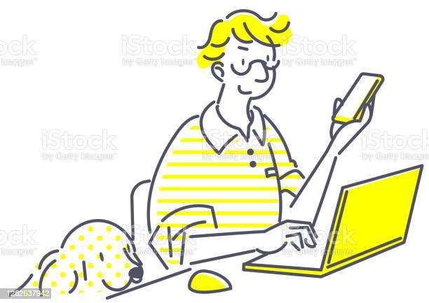 Lavorare Da Casa Semplice Illustrazione - Immagini vettoriali stock e altre immagini di Adulto