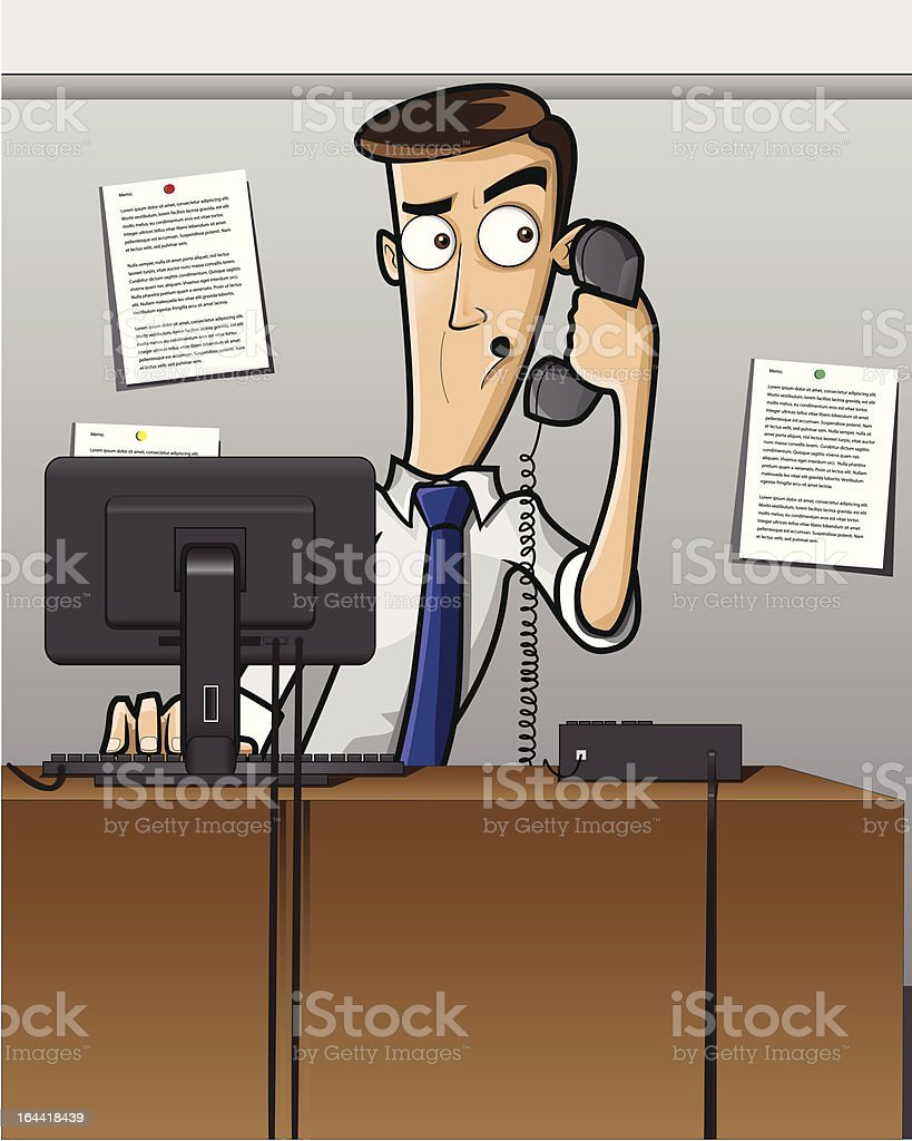 Working man on the phone vector art illustration
