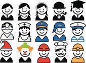 """profession avatars, vector people icon set"""