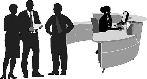 working vector silhouette - receptionist stock illustrations, clip art, cartoons, & icons