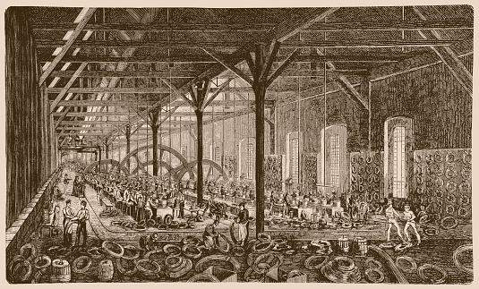 Illustration of a Workshop of the wire drawing mill Funke, Borbet & Co. in Langendreer, 1886