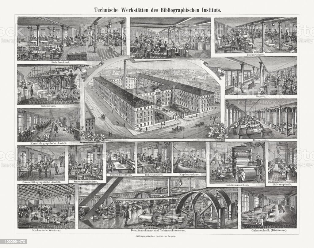 Workshops of Meyers Bibliographic Institute in Leipzig, woodcuts, published 1897 vector art illustration