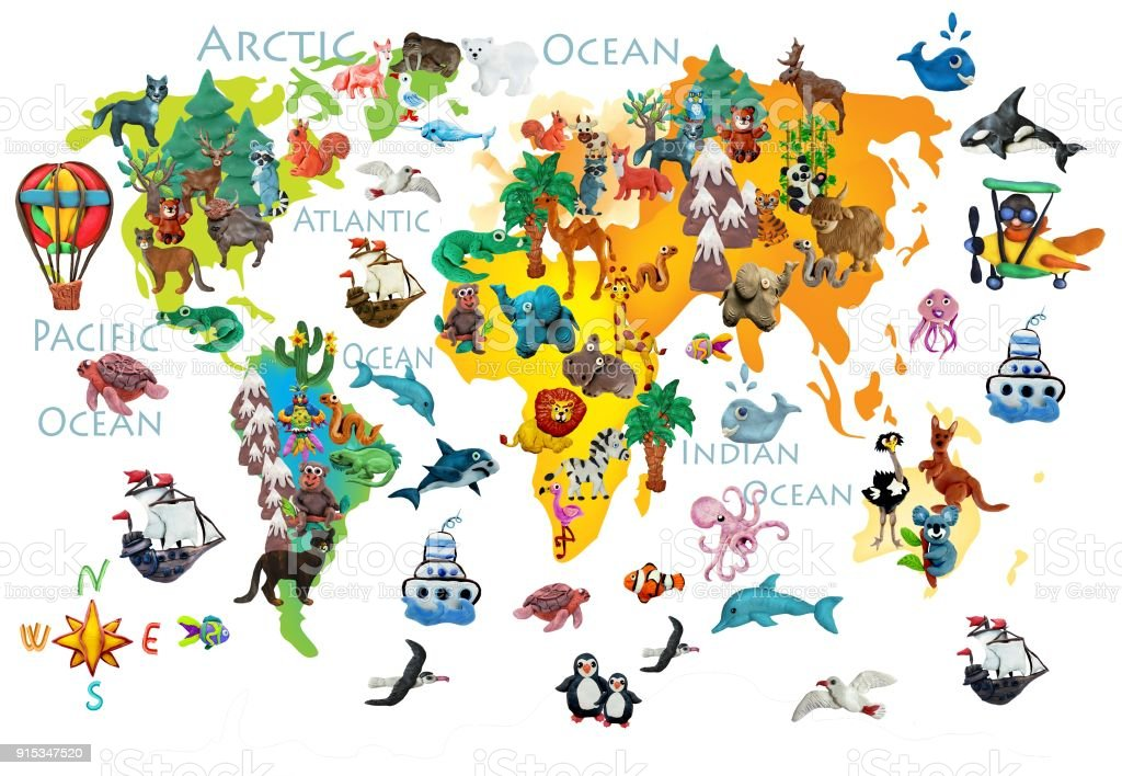 World Animals Plasticine Colorful Kids 3d Map Stock Vector Art ...