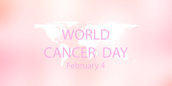 world cancer day on 4 february over white world map on blur beautiful pink color background for health  and living awareness concept