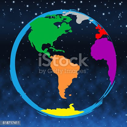 Colourful Globe Showing Earth Colors And Spectrum