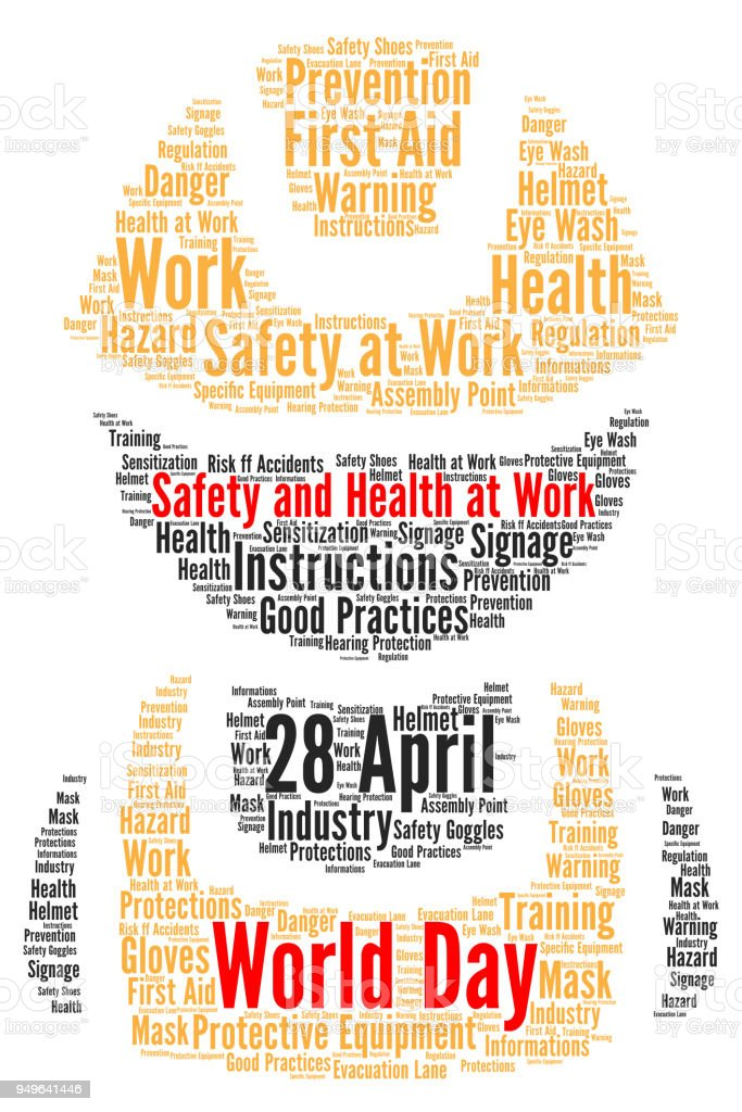 world day safety and health at work word cloud stock vector art
