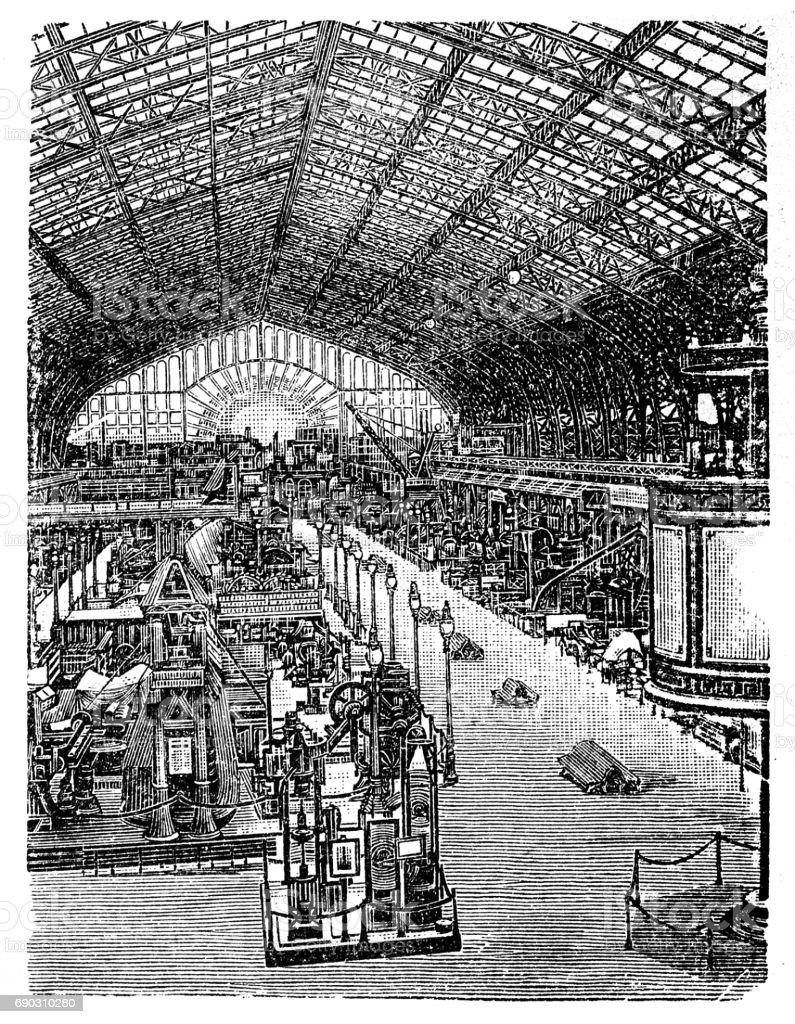 World exhibition in Paris 1889 vector art illustration