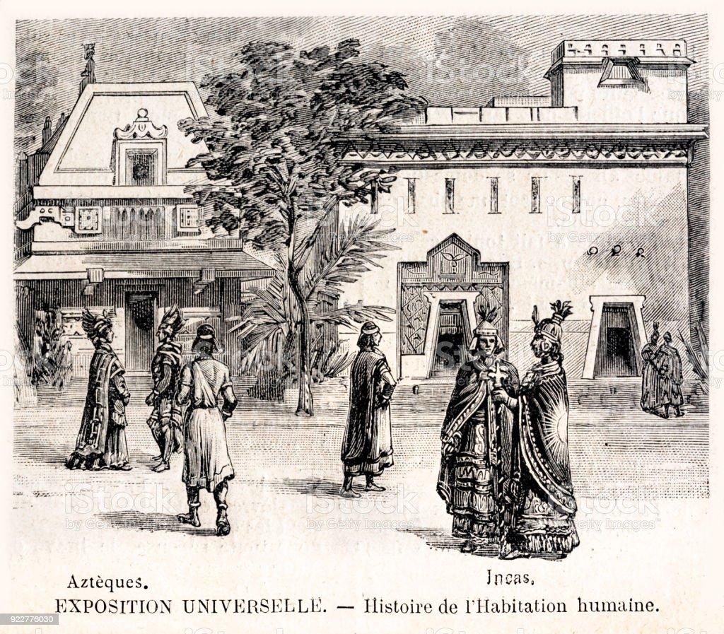 パリ万博で古代文明の家の世界博覧会 1889 の歴史 - 1889年のベクター ...