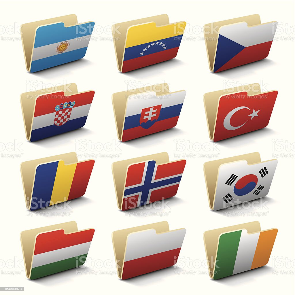 World folders icons royalty-free stock vector art