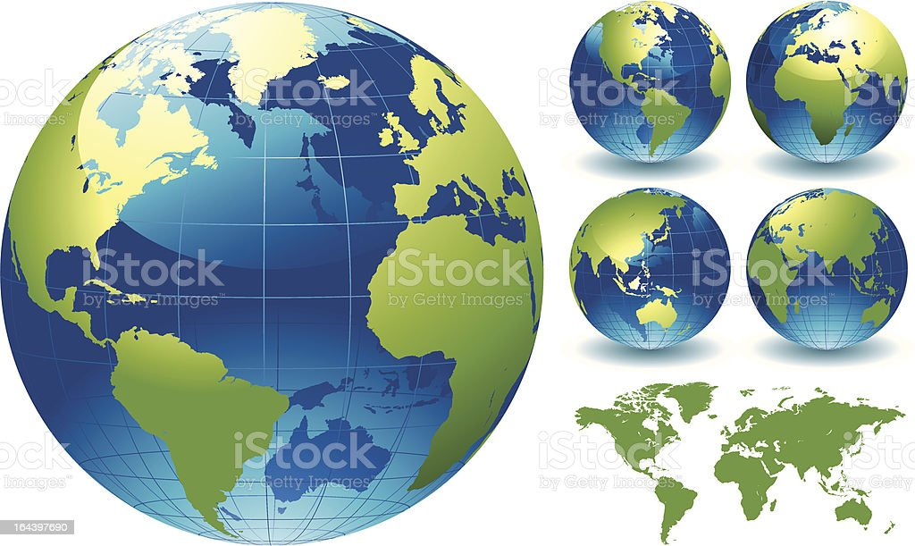 World Globe Map of the Earth vector art illustration