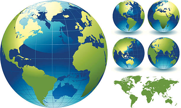 """World Globe Map of the Earth """"=""""""""World Globe Map of the Earth. This is a stylised editable EPS file of a globe of the world. This file also includes a highly detailed world map traced manually in Illustrator CS3 and supplied as Illustrator 8 eps vector illustration on 1 layer. Created """" atlantic ocean stock illustrations"""