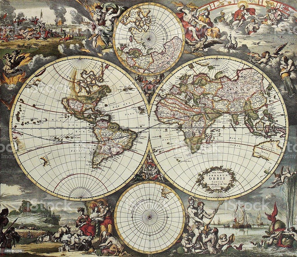 hemispheres vieille carte du monde - Illustration de Afrique libre de droits