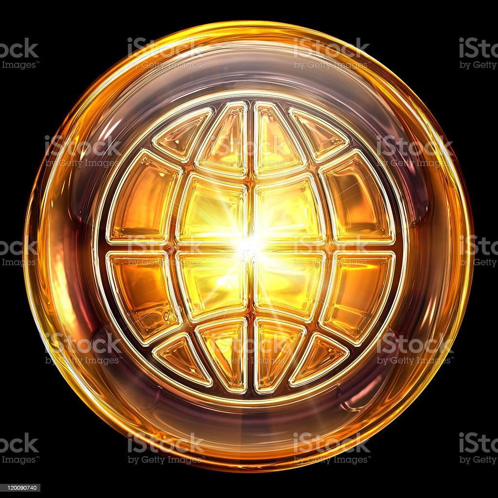 Welt-Symbol Feuer isoliert auf schwarzem Hintergrund – Vektorgrafik