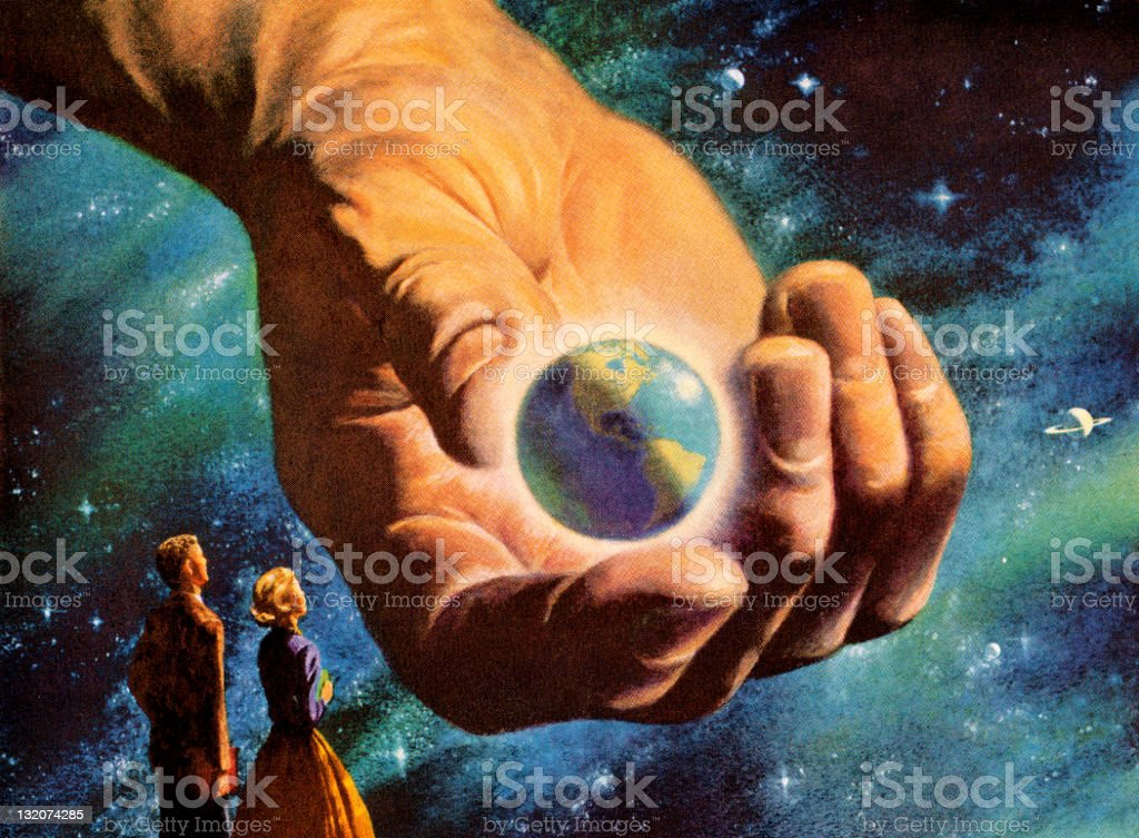 World in Hand vector art illustration