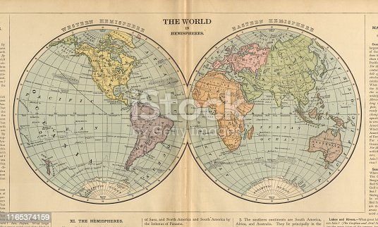 Very Rare, Beautifully Illustrated Antique Victorian Engraved Colored Map of The World in Hemispheres, Published in 1899. Source: Original edition from my own archives. Copyright has expired on this artwork. Digitally restored.