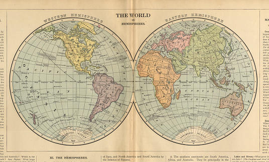 World in Hemispheres Antique Victorian Engraved Colored Map, 1899