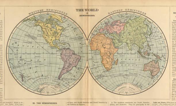 świat na półkulach antyczny wiktoriański grawerowany kolorowy mapa, 1899 - archiwalny stock illustrations