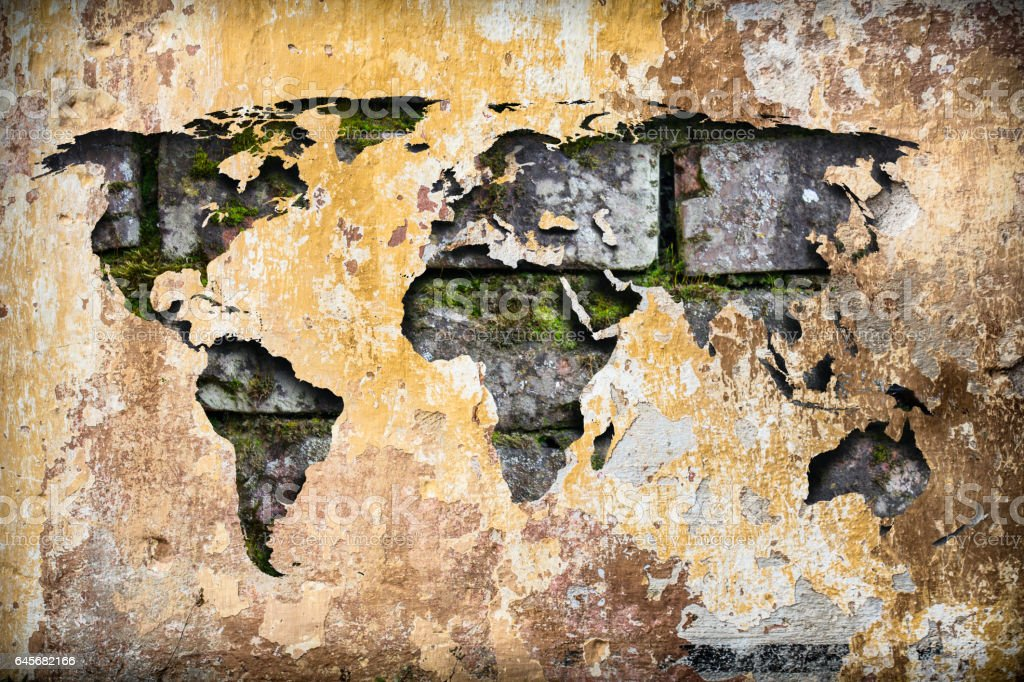 World Map Atlas On An Old Cracked Paint Dirty Vintage Abstract Ruin ...