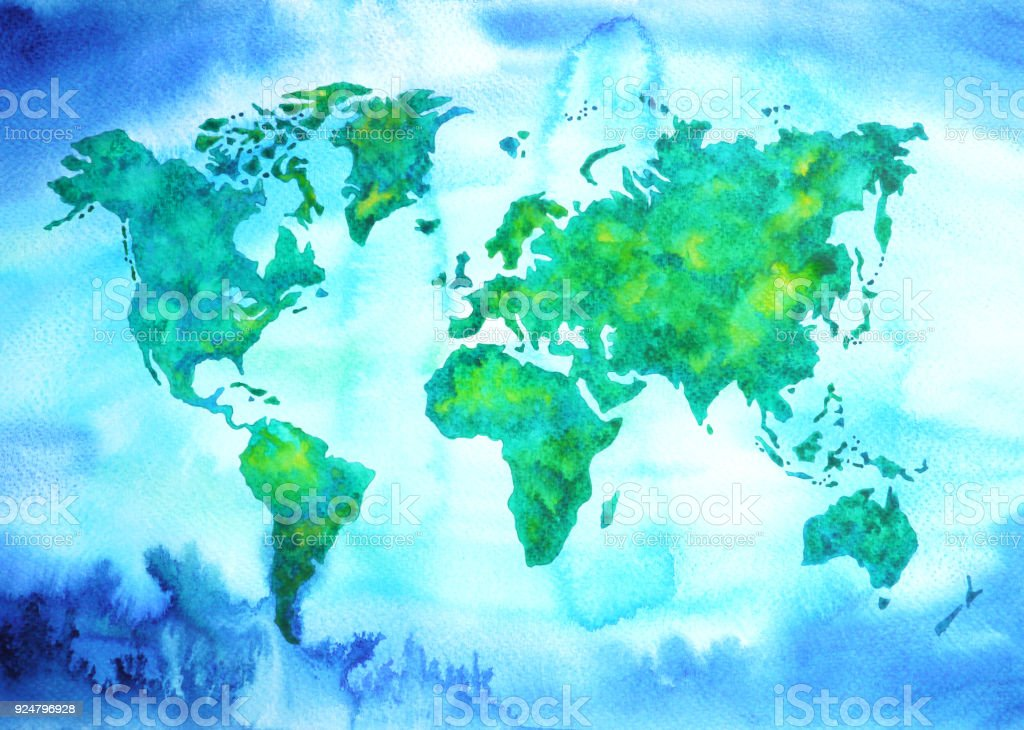 World map blue green tone watercolor painting on paper hand drawn world map blue green tone watercolor painting on paper hand drawn royalty free world map gumiabroncs Choice Image