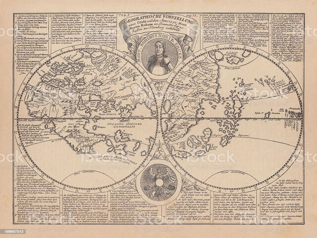 Picture of: World Map By Martin Behaim 1492 Wood Engraving Published 1884 Stock Illustration Download Image Now Istock