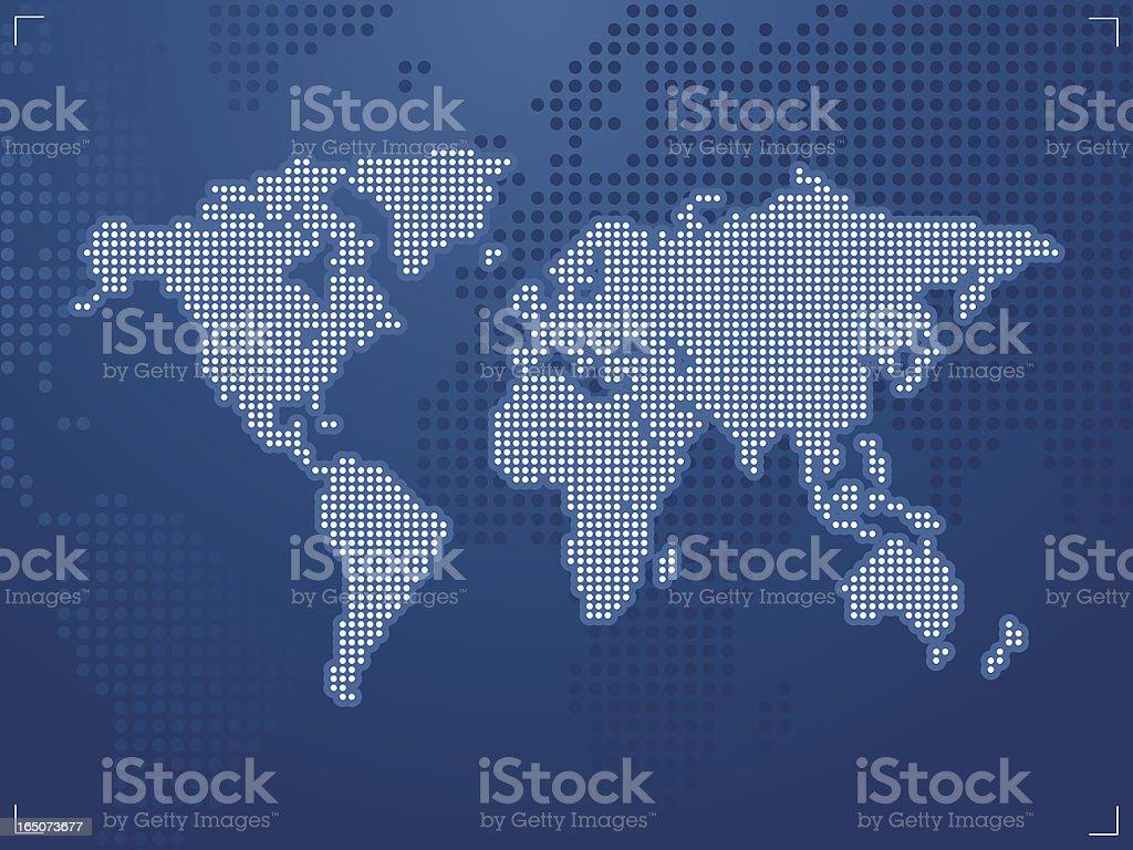 World Map  Digital Electric Blue vector art illustration