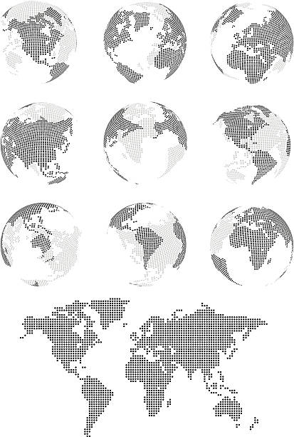 "World Map ""9 vectorized globes and flat world map in dots. Layered and completely scalable. The front sides of the globes are on a different layer to the back of the globes, allowing for front views only if desired."" oceania stock illustrations"