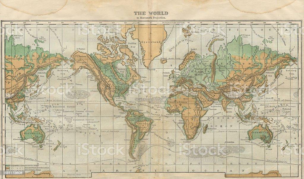 世界地図のイラスト、旅行、アドベンチャー、アンティーク 1871 イラストレーション ベクターアートイラスト
