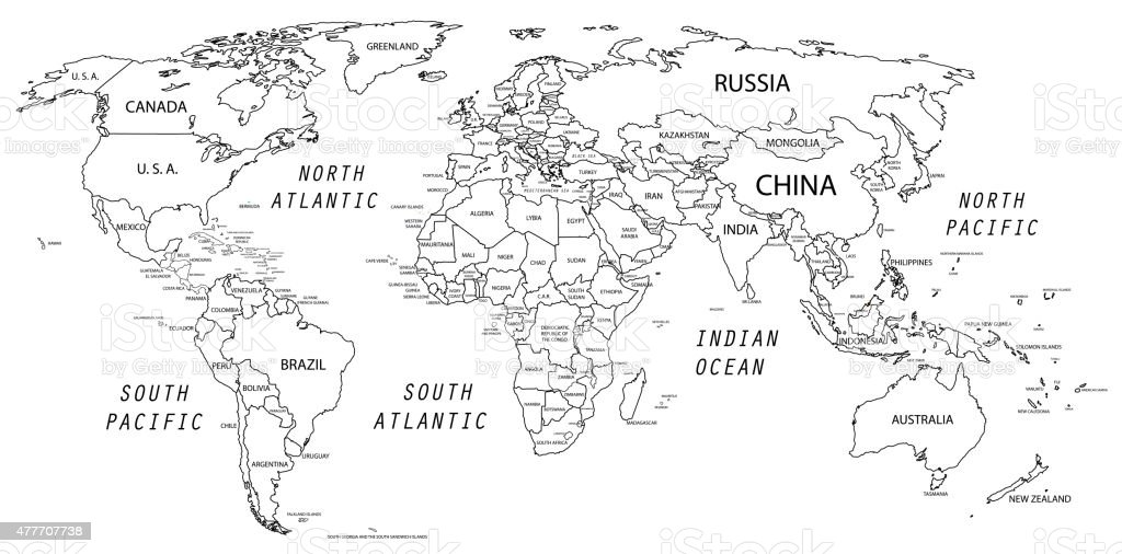 World Map In Black And White Stock Vector Art More Images Of 2015