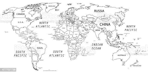 Cartina Mondo In Bianco E Nero.Mappa Del Mondo In Bianco E Nero Immagini Vettoriali Stock E Altre Immagini Di 2015 Istock