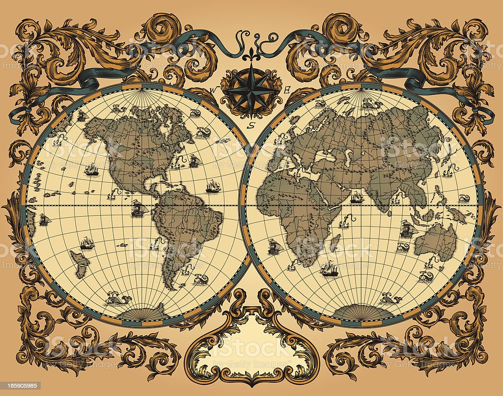 World map in vintage style vector art illustration