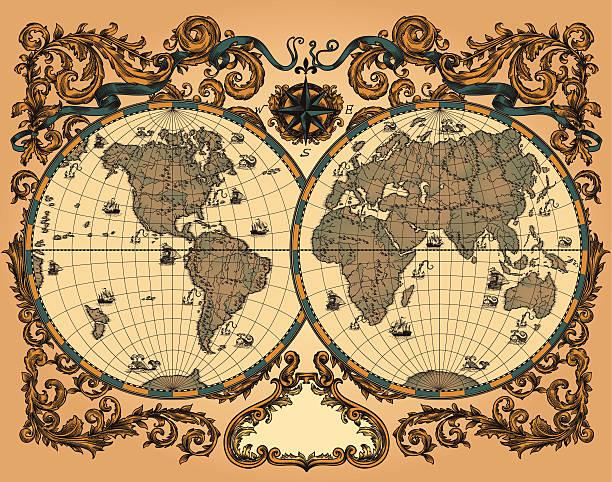 ワールドマップでビンテージスタイル - ビンテージの地図点のイラスト素材/クリップアート素材/マンガ素材/アイコン素材