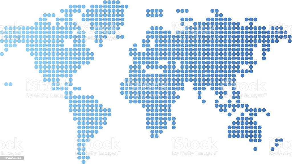 World map made up of round blue dots stock vector art more images world map made up of round blue dots royalty free world map made up of gumiabroncs Image collections