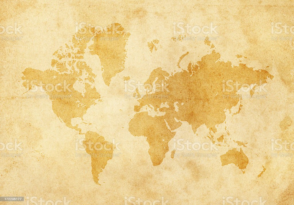 world map on old paper vector art illustration